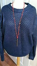 Unusual Navy Blue Medium Knit waxy finish s12 Jumper quirky Winter Trendy Indie