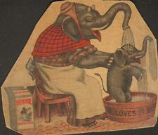 Rub No More Soap 2 sizes Mama Elephant Washing Baby with Her Trunk
