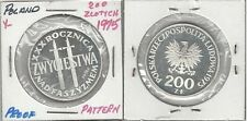 1975 Poland Silver Proof 200 Zl-Proba/Pattern-Victory over Fascism/Swords