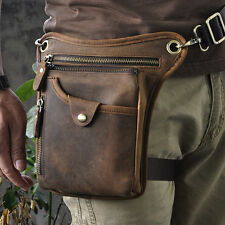 "Men Genuine Leather Outdoor Sport Motorcycle 8"" Fanny Waist Pack Drop Leg Bags"
