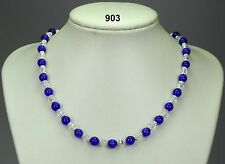 "Blue opal stone bead necklace, clear crystals, silver daisy spacers, 19""+2 ext"