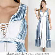 vtg 70s Gunne Sax Dress Blue Gingham Plaid Lace Boho Wedding Hippie Party Maxi S