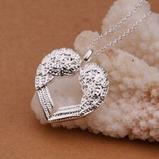 Silver plated angel wings love heart chain necklace pendant