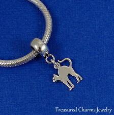 925 Sterling Silver Spooky Cat Dangle Bead Charm - fits European Bracelets