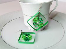 St Patrick's day green Clover earring, flower heart paper quill earring by yjmai