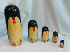Penguin - Hand Painted Russian Dolls - Nesting set of Five Dolls - BNIB