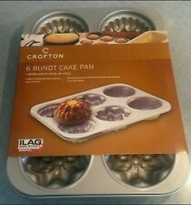 Crofton Mini Bundt Cake Pan 6 Molds 3 Shapes Nonstick Coating New in Package