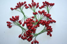144 x BRIGHT RED PLASTER HOLLY BERRIES 8mm DOUBLE ENDED WIRED STEMS