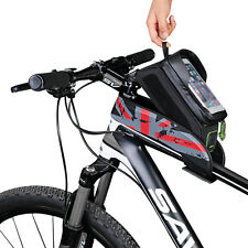 """RockBros Bicycle Frame Bag 5.8"""" Touch Screen Waterproof Bike Front Tube Bag Red"""