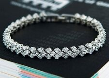 925 Sterling Silver Clear Crystal Bracelet Wedding Using Swarovski Element Gift