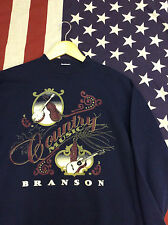 VINTAGE USA SWEATSHIRT NAVY BLUE COUNTRY MUSIC OVERSIZED / SIZE SMALL (VS6)