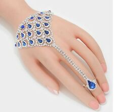 Royal Blue Crystal Rhinestone Wedding Formal Slave Hand Chain Ring Bracelet