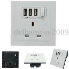 White UK Socket Adapter Wall Charger Power Outlet Panel With Triple 3 USB Ports