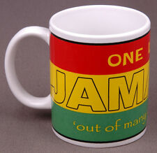 Jamaca Coffee Mug-One Love, Out of Many One People-Jamacan Flag-Red Green Yellow