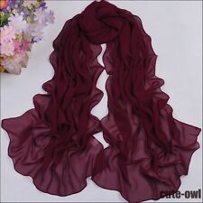 Fashion Solid Women's Soft Thin Solid Chiffon Scarf Wine Red Voile Shawl Wraps