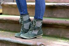 Sorel For Athleta Nori Green Slimboot Lace Herringbone Boots NEW! 9