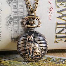 """1 Bronze Tone Necklace Chain Cat Quartz Pocket Watch 84cm (33-1/8"""")"""