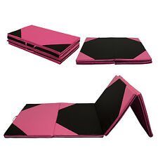 "Thick Folding Gymnastic Gym Exercise Aerobics Mats 4'x10'x2"" Fitness Pink&Black"
