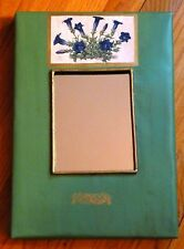 Morning Glory Print On Antiqued Green Painted Metal Unique Wall Mirror, U.S.A.