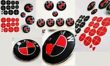 MATTE BLACK & RED Complete Set of Vinyl Sticker Overlay All BMW Emblems