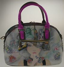 Nicole Lee New York Print Satchel Bag Statue Liberty  Handbag