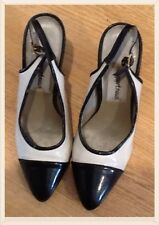 VTG 1980s Meets 1950s Style  Blk & White Leather Slingback Shoes Size 3 UK