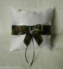 Wedding Party Ceremony Redneck Deer Hunter Hunting Camo Ring Bearer Pillow