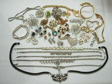 PRETTY VINTAGE LOT OF GORGEOUS GLITZY RHINESTONE JEWELRY ~NECKLACES PINS & MORE!