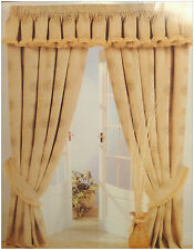 "SAND GOLD COMO 66"" x 54"" HEAVY LUXURY READY MADE PENCIL PLEAT LINED CURTAINS"