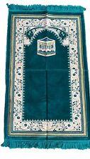 Ramadan Special Teal Kabah & Vines Prayer Rug - Quality Muslim Kabe Salat Mat