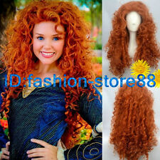 Pixar Animated movie of Brave MERIDA cosplay Long curly orange wig
