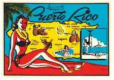 Puerto Rico   Bathing Beauty/Pin-Up   Vintage-Looking Travel Decal/Label/Sticker