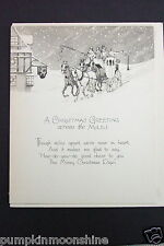 # I 760- Vintage Unused Xmas Greeting Card Country Horse Drawn Carraige