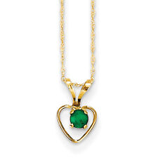 Madi K Kids 14k Yellow Gold 3mm Emerald Heart Birthstone Necklace 15""