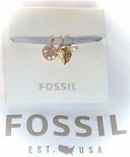 NWT $28 FOSSIL - MICRO CHARM SET...SHELL/PEARL/MOP DISC ON SATIN RIBBON BRACELET