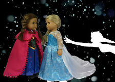 """US SELLER! FROZEN ELSA'S AND ANNA'S DRESSES MADE TO FIT 18"""" AMERICAN GIRL DOLLS"""