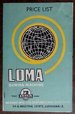 India vintage Loma Sewing Machine price-list, brochure & letter