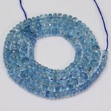 "3.2mm-5.5mm Santa Maria Blue Aquamarine Faceted Rondelle Bead 17"" Strand"