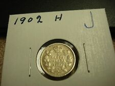 1902 H - Canada - silver 5 cent coin - Canadian nickel - circulated
