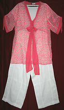 """PLUS SIZE tunic top 46"""" bust CORAL PINK & WHITE sheer floaty WITH TIE soft light"""