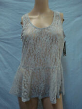 NWT Women's Victoria Lace Tank Top Size XL Grey #644A
