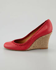 Lanvin Grosgrain-Stitched Leather Wedge Pump, Cherry NEW