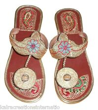 US 6 TRADITIONAL INDIAN HANDMADE WOMEN SLIPPERS LEATHER FLIP-FLOP SHOES MOJARI