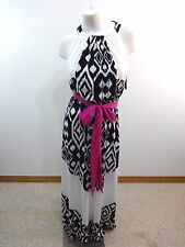 NWT VINCE CAMUTO IVORY AND NAVY TRIBAL PATTERN MAXI DRESS SIZE 4