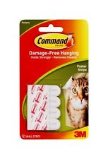3M Command Poster Strips Small Double Stick Adhesive 12 count Clean Removal