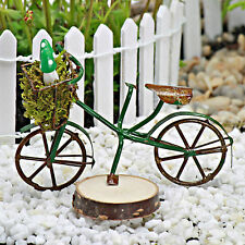 Bicycle with Green Mushrooms ~ Miniature ~ Fairy Garden  ~ Bike ~ Handmade