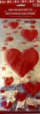 Valentine's Day ~ 25 Treat Bags w/ Ties Party Treat Goody Plastic Bags ~ Hearts
