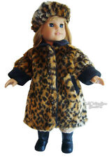 "Leopard Fur Winter Coat & Tam made for 18"" American Girl Doll Clothes"
