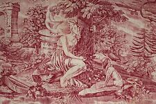 """Antique French toile """"Love and Friendship"""" curtain red fabric bed hanging"""