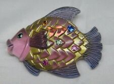 Vintage Clear Pink Carved Lucite Fish Brooch W/Colorful Rhinestones - BOOK PIECE